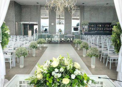 Decoración floral, ceremonia boda.       Hotel Los Monteros.