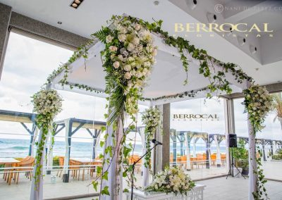 Side image Floral decoration for Juppah / Gazebo, wedding ceremony. Romanticism on the beach