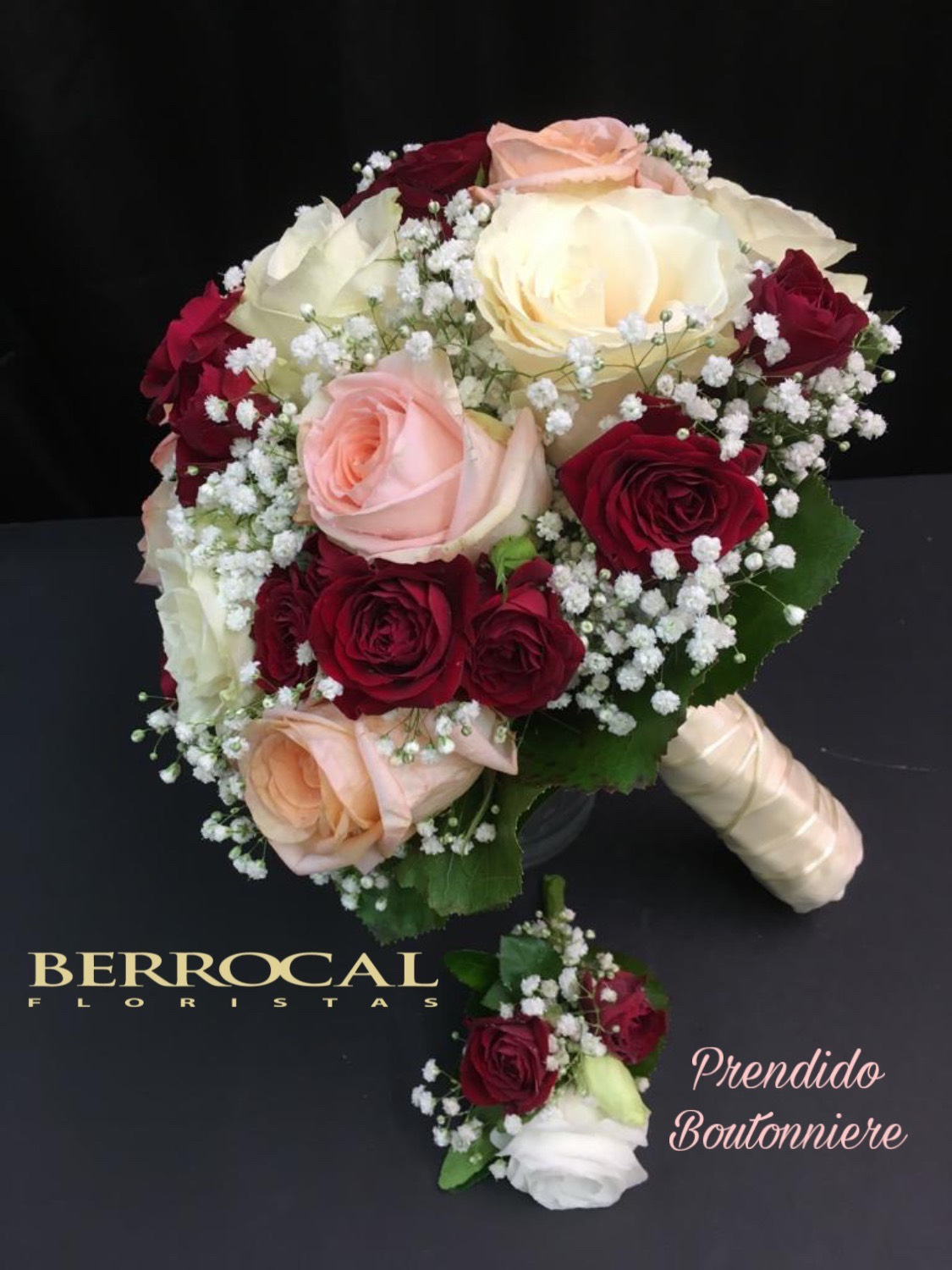 Bridal bouquet with roses.  And Boutonniere.