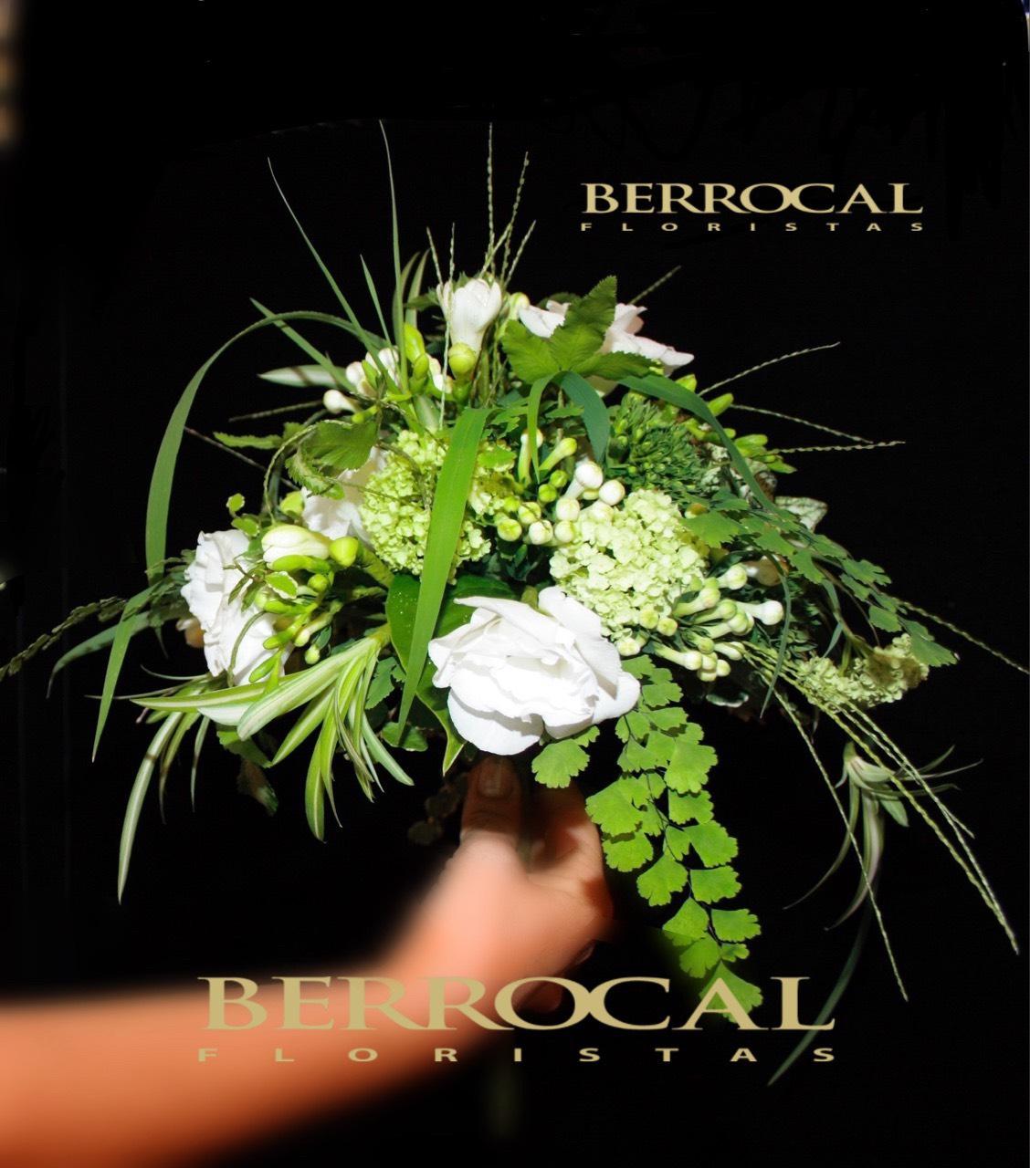Bridal bouquet, wild style. Freesias, Bouvardia, lisiantu, Adiantum, Green Dracena, Grass.