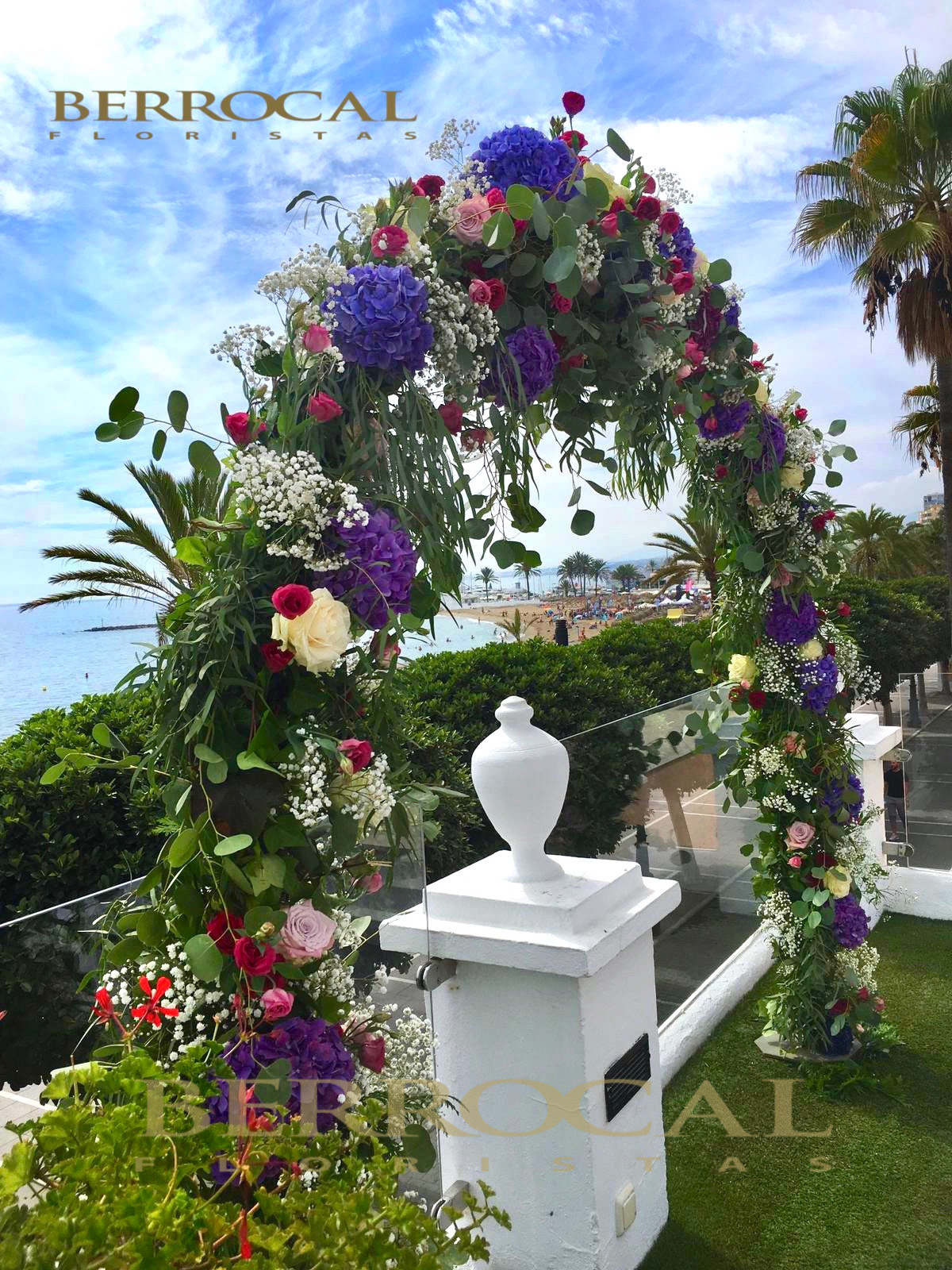 Colorful floral arch! Wedding ceremony! Hotel El Fuerte!