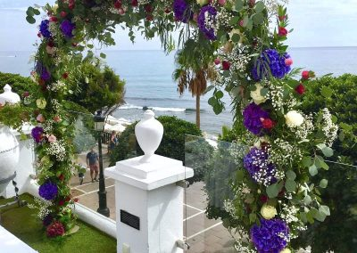 Colorful floral arch! Wedding ceremony!Hotel El Fuerte!