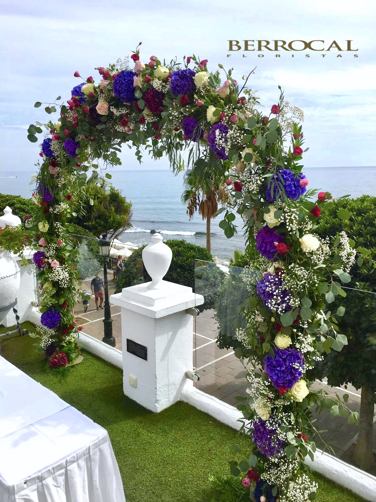 Colorful floral arch! Wedding ceremony!Hotel El Fuerte!
