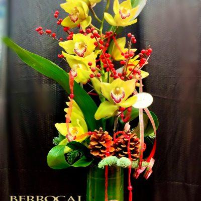 Rama de Orquídea Cymbidium en copa de cristal. Con piñas y decoración navideña.